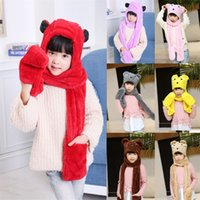 Wholesale Cartoon Plush Animal Full Hood Kids Winter Warm Fluffy Hat Children Costume Beanie with Long Scarf Mittens Gloves Earflap
