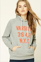 achat en gros de sweat-maillots gris féminins-New Arrival 2017 Printemps Femmes Pullover Loose Long Sleeved Hooded Ladies Hoodies Sweatshirts Lighrt Grey Couleur