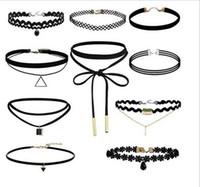 Wholesale 10pcs set Fashion Vintage Black Velvet Choker Necklace Women Rope Leather Chain Tube Necklaces Pendants Burlesque Cosplay Jewelly