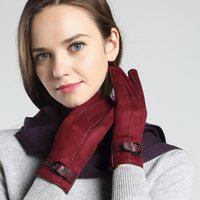 Wholesale Cashmere leather gloves Thermal cycling and driving pile The wool gloves in winter