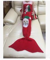 al por mayor hilados de santa-7 colores Nuevo regalo de Navidad Mermaid manta manta de ganchillo Crochet manta de adultos de la cama del niño suave hilo de dormir de punto de Santa Claus