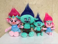 Wholesale EMS Movie Trolls Doll Plush Toy CM Poppy Branch Dream Works Stuffed Cartoon Dolls The Good Luck Trolls Christmas Gifts For Children