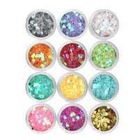 Wholesale Sequins Heart shaped solid sequins fashion Color Mixed Nail Sticker set Packed sequins Nail Stickers Decals for nail decoration