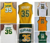 Wholesale A High Quality men s Kevin Durant Throwbacks Men Vintage Green Yellow White Jersey