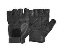 gants en cuir frais sans doigts hommes achat en gros de-Vente en gros - 2017 Men's Cool Leather Workout Gym Poid levage Sports Half Finger Fingerless Black Gloves