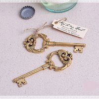 Wholesale Wedding Favors and Gift Key to My Heart Vintage Key Bottle Opener Gold Wedding Shower Favor WA2196