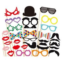 Wholesale New Funny Photo booth props with lips moustaches glasses and sticks party wedding Decorations Prop