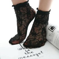 achat en gros de gros tulle brodé-Grossiste - Sexy Black Mesh Floral Lace Ruffle Frilly Cheville Socks Anklet Trim Broder Livraison gratuite