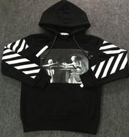 Wholesale OFF WHITE Mens Pullover Stripe Offset Print Hoodies Fleece Sweatshirts Brand HBA Vision Religion Painting VIRGIL ABLOH