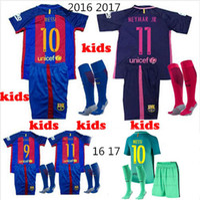 away socks - 2016 kids Barcelonace Soccer Jersey kits youth Home Away MESSI ARDA A INIESTA SUAREZ SERGIO PIQUE I RAKITIC Football shirt socks