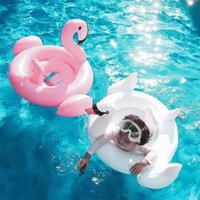 Wholesale 2 Colors Swan Inflatable Float Swim Ring Baby Summer Toys Swan Swimming Seat Ring Water Toys Beach Toys White and Pink JC64