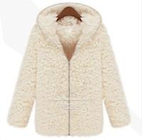 Acheter Hoodie de la fourrure pour les femmes-Vêtements Femmes New Winter Femmes Mousseline Shaggy Manteau Faux Fur Zipper Outerwear Hoodie épais Beige
