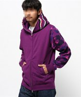 Wholesale 2016 clothing Shark mouth Hoodies hip hop clothing Purple camouflage sleeve mens designer shirts tracksuit plus size style