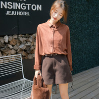 Wholesale A new fashion in autumn winter Faux suede warm shirt Long sleeve collar easing round collar leisure coat