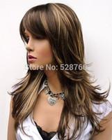 Wholesale 100 Brand New High Quality Fashion Picture wig Plumeux Longtemps Posé Perruque Brown avec Blonde Faits Saillants Livraison gratuite