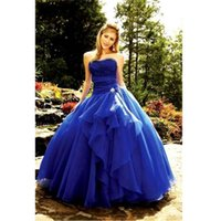 baile black - 2017 Royal Blue Strapless Ball Gown Lace Up Prom Dresses Off The Shoulder Long Formal Prom Gowns Vestidos De Baile Ballkleider