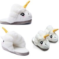 adult animal slippers - Womens Slippers Mens White Winter Warmer Indoor Soft Slipper Unicorn Plush Slippers Anti Slip Adult Animal Slippers