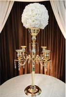 Wholesale H75cm W48cm gold Heads Crystal Candelabra Candle Holder wedding Centerpiece flower bowl Candle holder with pendants