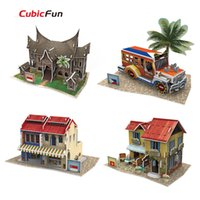 asia puzzles - Cubic Fun D Puzzle Handmade World Style Southeast Asia puzzle D model Paper Educational Toys For Kids Christmas Gifts