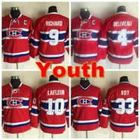 al por mayor chico de la vendimia-Jóvenes de Montreal Jersey de Canadiens de Montreal 9 Maurice Richard 4 Jean Beliveau 10 Guy Lafleur Vintage CCM 33 Patrick Roy Kids Camiseta de hockey sobre hielo