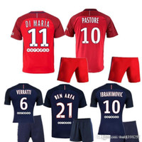 Wholesale 16 lParis kit home tops PASTORE football jerseys fans version football set short sleeve summer sport training kits free shippping