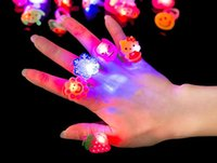 Wholesale Toys Children Flash Rings LED Colorful Creative Gift Finger Emitting Light Up Toys Interesting Trendy ABS Environmental Toys Styles free