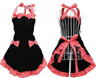 aprons with pockets red - Women s Apron with Pockets Black and Red Origin of the black seal Japanese cute Made of Polyester cotton material