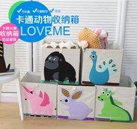 Wholesale Super cute cartoon wild foldable organic cotton dirty clothes storage box toy storage box
