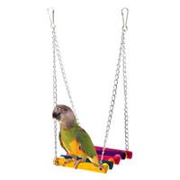 al por mayor accesorios de rata-Colorido jaula de madera Colgante Swing Small Parrot Pájaros Rata Ratón Actividades Masticar Jugar Stand Bar Animales Accesorios juguetes aves