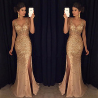Trumpet/Mermaid vintage prom dresses - 2017 Latest V Neck Mermaid Long Prom Dresses High Split Crystal Beaded Gold Evening Party Prom Gowns vestido de fiesta