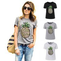 2017 Summer Women T shirt Fruit Print T-shirt à l'ananas O-neck Casual Short Sleeve Tee Tops Noir Blanc Gris