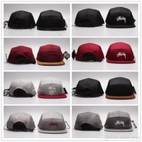 stussy - Wool Stussy Panel Hats Flat Snapback Embroidery Logo Fitted Hat Hot Mens Grey Red Black Stuss Strapback hip hop Cap