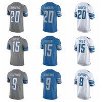 barry sanders football jersey - 2017 Steel Rush Jersey Elite Golden Tate III Barry Sanders Matthew Stafford Shirts New Blue Cheap Mens Stitched Football Jerseys