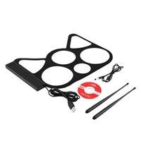 Wholesale 1 Set Portable USB PC Desktop Electronic Roll Up Drum Pad Kit Set Drum Sticks Foot Pedal Retial Sale New