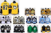 Wholesale cheap Stitched Pittsburgh Penguins Sidney Crosby Black White Light Black yellow Blue Hockey Jerseys Jersey do Drop Shipping Mix Order