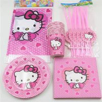 Wholesale Hello Kitty Decoration Paper Napkins Tablecloth Baby Shower Kids Favors Cups Plates Birthday Straws Party Supplies