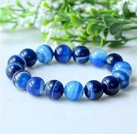 aquamarine bracelet gold - Unisex mm Natural Agate Bracelet Aquamarine Elegant Blue Beads Bracelets Bangles with charms for christmas gifts