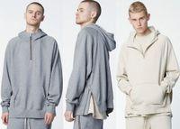 Wholesale NEW fashion hiphop fog fear of god unisex justin bieber Irregular cutting stitching HALF zipper hoodie pullover gray khaki M XL