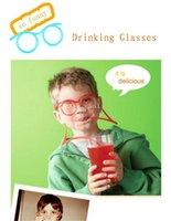 achat en gros de lunettes de soleil à boire-Lunettes de soleil de vente chaude potable de paille Enfants drôles colorées lunettes souples de bricolage de paille unique Flexible Drinking Lunettes de soleil tube enfants cadeau b1087