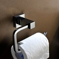 Wholesale New Brass Toilet Paper Holder Chrome Bathroom Toilet Roll Holder For Paper Towel Square Bathroom Accessories