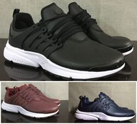 Air en cuir libre Avis-Avec Box 2016-2017 Hommes Air Prestos Chaussures de Course Noir Marine Vins Rouge Cuir Sneakers Taille US8-US11 Spots Runners Free Drop Shipping