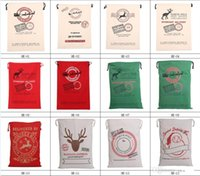 Wholesale 2017 Christmas Large Canvas Monogrammable Santa Claus Drawstring Bag With Reindeers Monogramable Christmas Gifts Sack Bags fast shipping