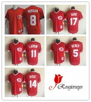 achat en gros de johnny banc-Hommes Cincinnati Reds 5 Johnny Bench 11 Barry Larkin 17 Chris Sabo Red Mesh Batting Practice 14 Pete Rose 1983 Throwback 8 Joe Morgan Jerseys