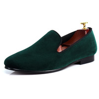 Wholesale Harpelunde Green Velvet Classic Men Dress Shoes For Wedding Slip On Leather Lining US Size