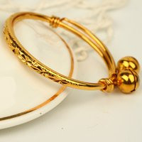 Wholesale 1 Baby Gift k Yellow Gold Filled Lovely Children Bangle Expandable Bracelet