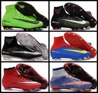 Wholesale 2017 New Mercurial Superfly V FG Men Soccer Boots original Quality Mens Football Boots Cleats Soccer Shoes Sports Sneakers