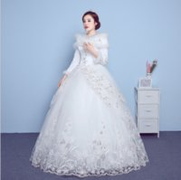 Wholesale Sexy Winter Wedding Dresses Long Sleeve Sheer Illusion Ribbon Beads Chapel Train Church Custom Lace Applique Bridal Ball Gowns