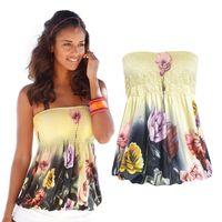 Mode Femmes Top sans bretelles imprimé Floral Loose Sexy Tank Top Beach T-shirts Veste d'été Halter Casual Camis