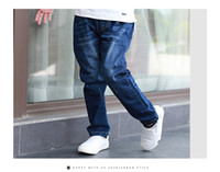 Wholesale Boys jeans casual winter plus velvet thicken jeans children children cotton trousers baby winter can not open crotch trousers