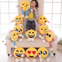 Wholesale Emoji Emoticon Pillows Emoji Plush Dolls Smiley Stuffed Toys Emoji Throw Pillow Soft Cartoon Round Cushion Pillows Stuffed Plush Toys D025